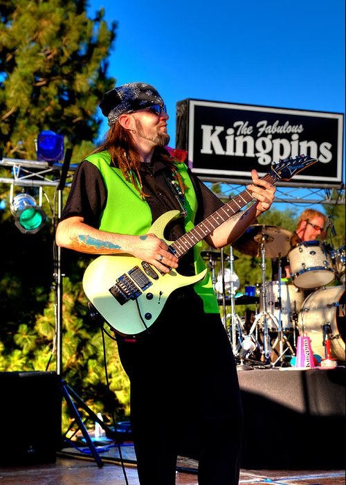 The Kingpins Greeting Card featuring the photograph Lead Guitarist Jimmy Dence - The Fabulous Kingpins by David Patterson