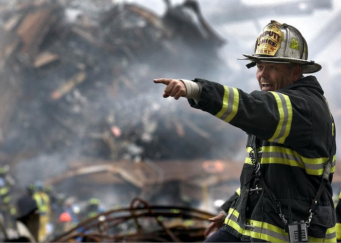 Fireman Greeting Card featuring the photograph Leading Through Chaos by Mountain Dreams