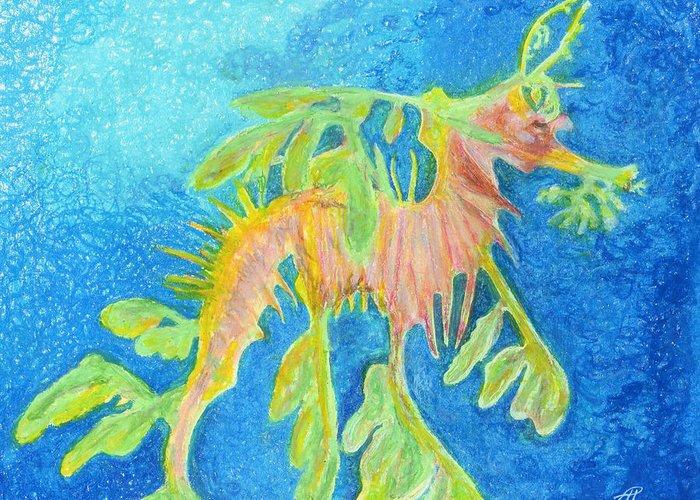 Leafy Seadragon Greeting Card featuring the drawing Leafy Seadragon by Tanya Hamell