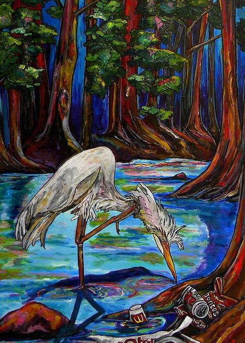 Egret Greeting Card featuring the painting Leave Only Footprints by Patti Schermerhorn