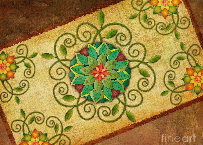 Leaf Greeting Card featuring the digital art Leaves Rosette 1 by Bedros Awak
