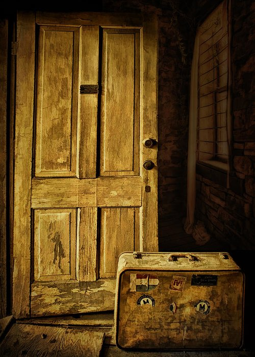 Door Greeting Card featuring the photograph Leaving Home by Priscilla Burgers
