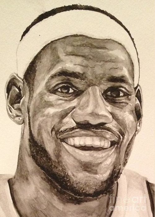 Lebron James Greeting Card featuring the painting Lebron James by Tamir Barkan