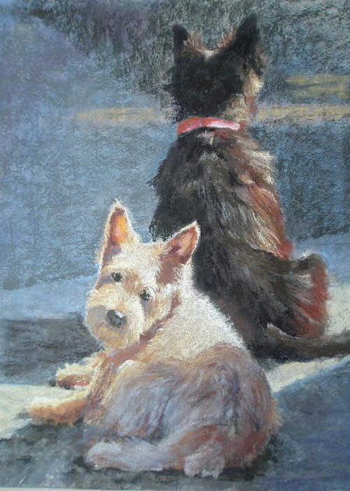 Dogs Greeting Card featuring the pastel Left Behind by Janice Harris