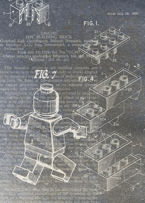 Lego Greeting Card featuring the digital art Lego Patent by Nick Pappas