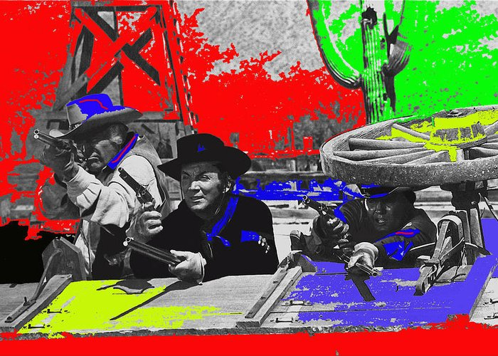 Leif Erickson Cameron Mitchell Mark Slade Number 2 The High Chaparral Set Old Tucson Arizona 1969 Color Added Upended Wagon Train Greeting Card featuring the photograph Leif Erickson Cameron Mitchell Mark Slade Number 2 The High Chaparral Set Old Tucson Az 1969-2008 by David Lee Guss