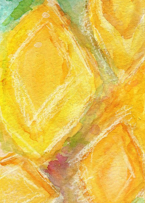Abstract Painting Greeting Card featuring the painting Lemon Drops by Linda Woods