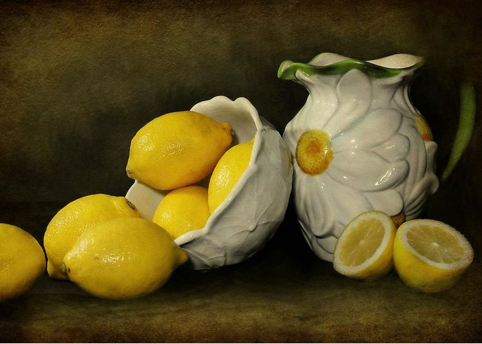 Still Life Greeting Card featuring the photograph Lemons Today by Diana Angstadt