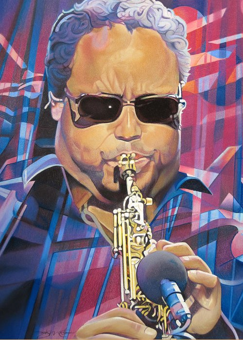 Leroi Moore Greeting Card featuring the drawing Leroi Moore And 2007 Lights by Joshua Morton