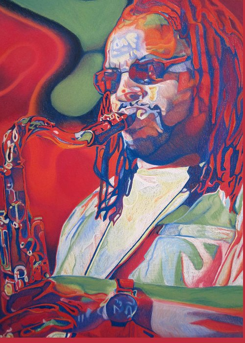 Leroi Moore Greeting Card featuring the drawing Leroi Moore Colorful Full Band Series by Joshua Morton