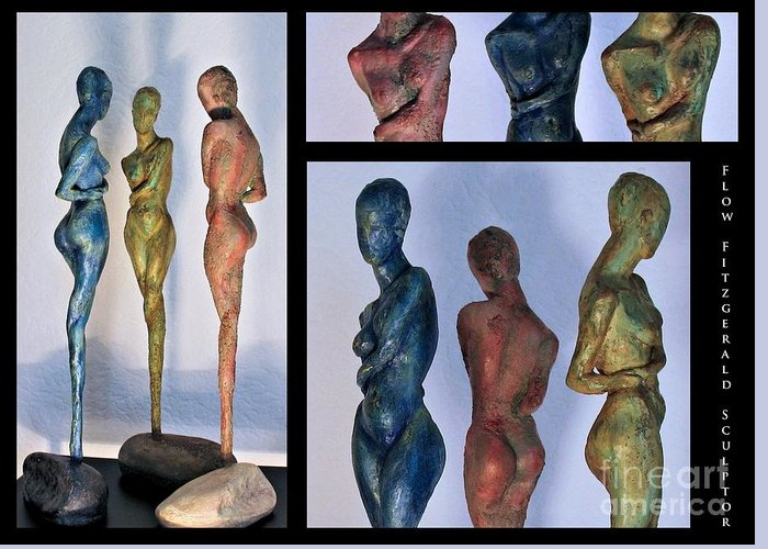 Nude Sculptures Greeting Card featuring the sculpture Les Filles De L'asse 1 Triptic Collage by Flow Fitzgerald