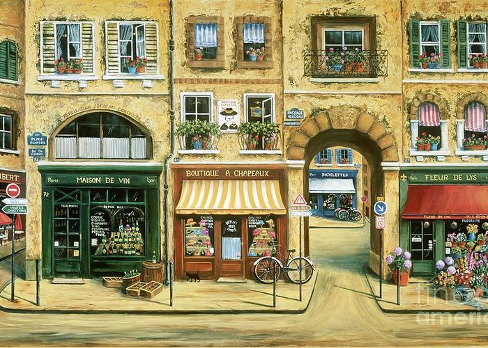 Wine Shop Greeting Card featuring the painting Les Rues De Paris by Marilyn Dunlap