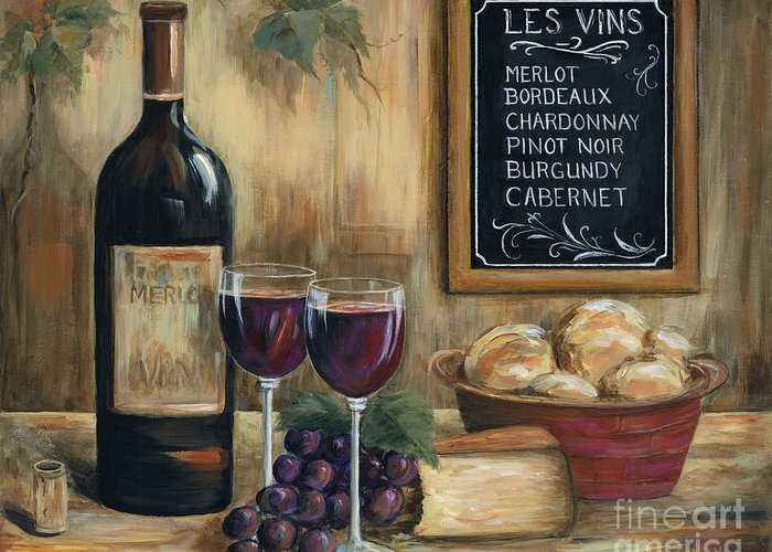 Wine Greeting Card featuring the painting Les Vins by Marilyn Dunlap