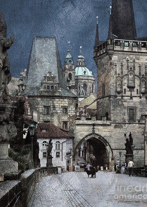 Building Greeting Card featuring the digital art Lesser Town Bridge Towers by Pedro L Gili