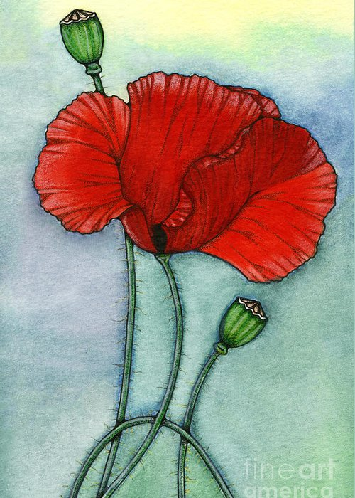Poppy Greeting Card featuring the painting Lest We Forget by Nora Blansett