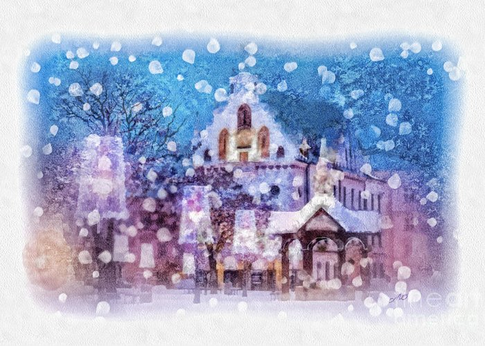 Let It Snow Greeting Card featuring the painting Let It Snow by Mo T