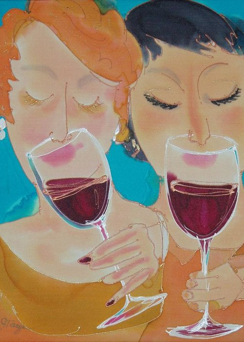 Wine Greeting Card featuring the painting Let's Get Together by Jill Targer