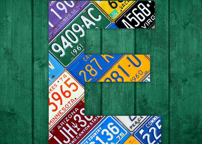 Letter Greeting Card featuring the mixed media Letter E Alphabet Vintage License Plate Art by Design Turnpike