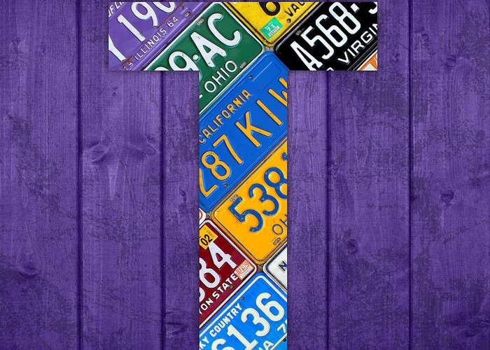 Letter Greeting Card featuring the mixed media Letter T Alphabet Vintage License Plate Art by Design Turnpike