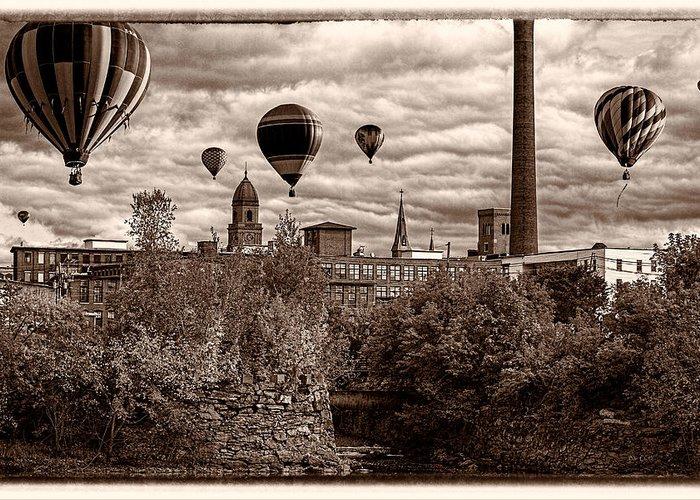 Hot Air Balloon Greeting Card featuring the photograph Lewiston Maine Hot Air Balloons by Bob Orsillo
