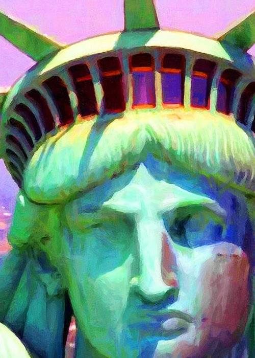 Patriotic Greeting Card featuring the photograph Liberty Head Painterly 20130618 Long by Wingsdomain Art and Photography