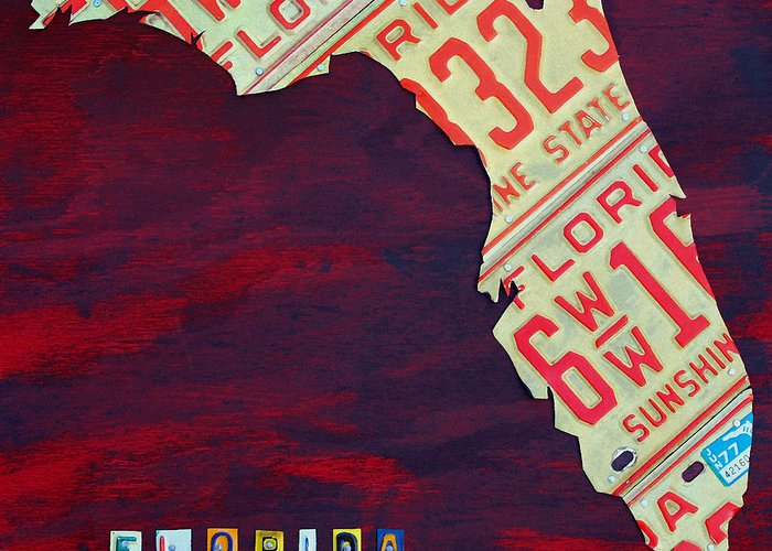 License Plate Map Greeting Card featuring the mixed media License Plate Map Of Florida By Design Turnpike by Design Turnpike