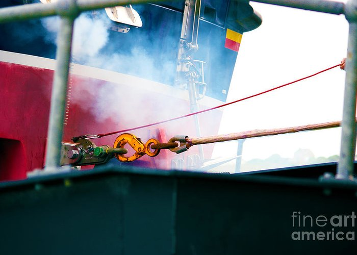 Out On A Shout Greeting Card featuring the photograph Lifeboat Chocks Away by Terri Waters