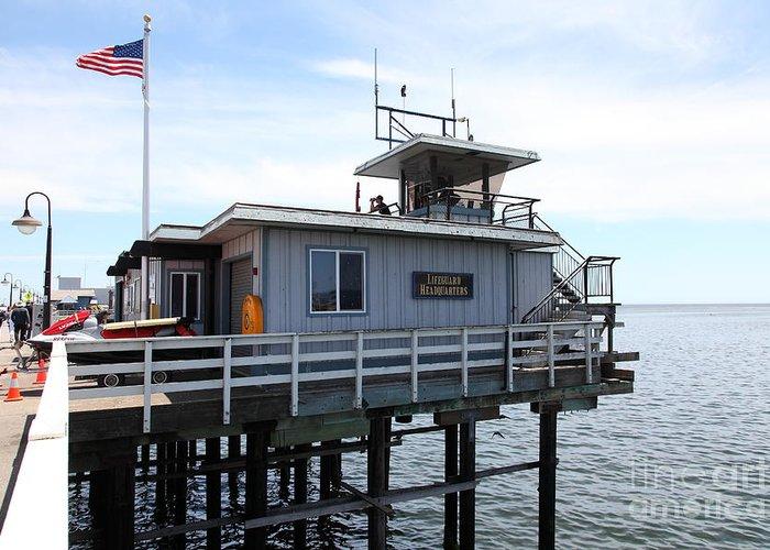 California Greeting Card featuring the photograph Lifeguard Headquarters On The Municipal Wharf At Santa Cruz Beach Boardwalk California 5d23828 by Wingsdomain Art and Photography