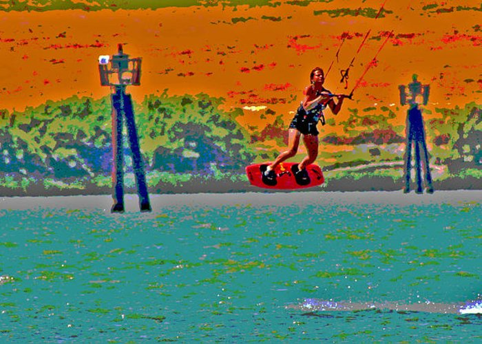 Kite Boarder Greeting Card featuring the photograph Lift Off On The Delta by Joseph Coulombe