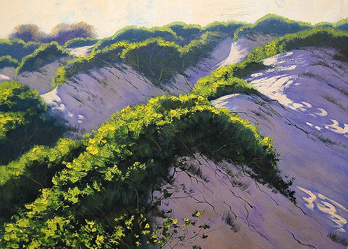 Seascape Greeting Card featuring the painting Light Across The Dunes by Graham Gercken