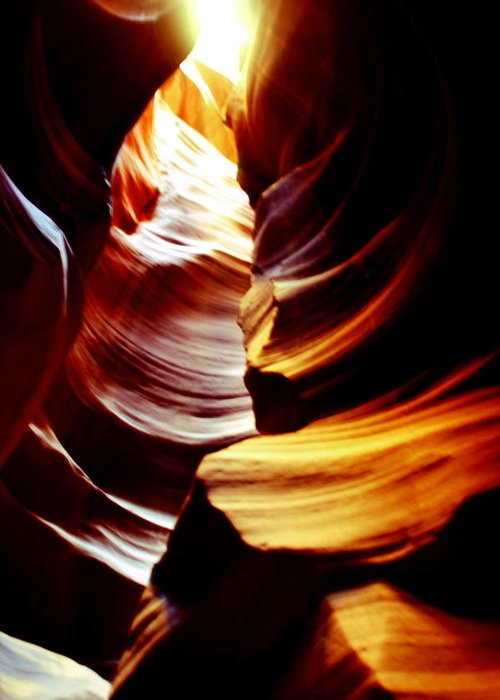 Antelope Canyon Greeting Card featuring the photograph Light From Above - Canyon Abstract by Aidan Moran