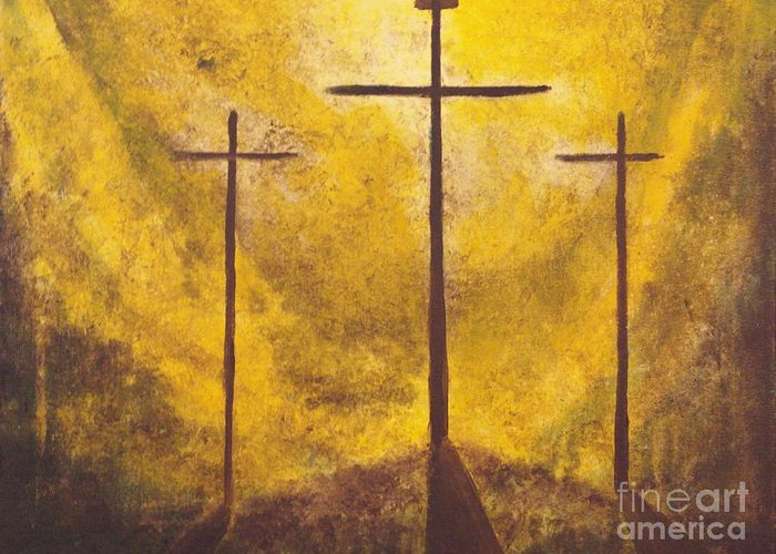 Abstract Painting Greeting Card featuring the painting Light Of Salvation by Wayne Cantrell