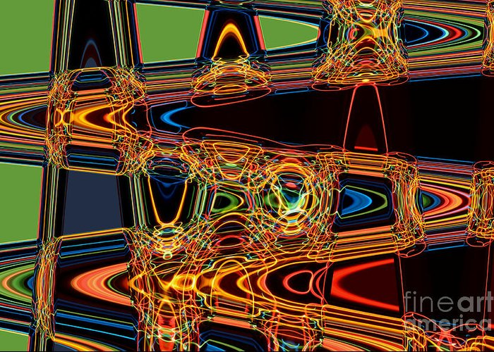 Abstract Greeting Card featuring the digital art Light Painting 3 by Delphimages Photo Creations