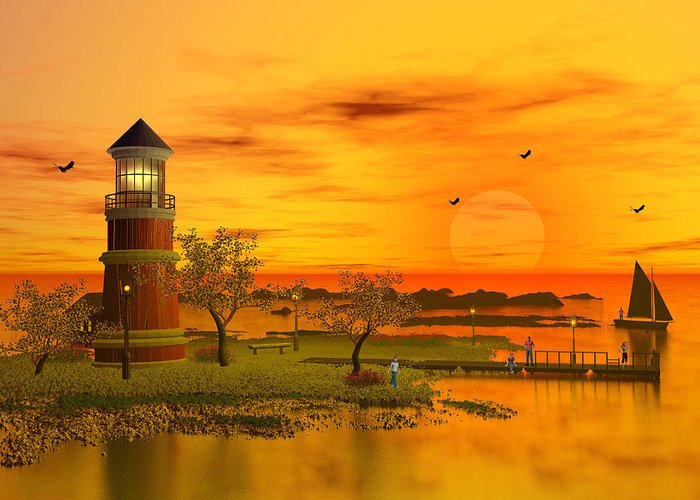 Lighthouse At Sunset Greeting Card featuring the digital art Lighthouse At Sunset by John Junek