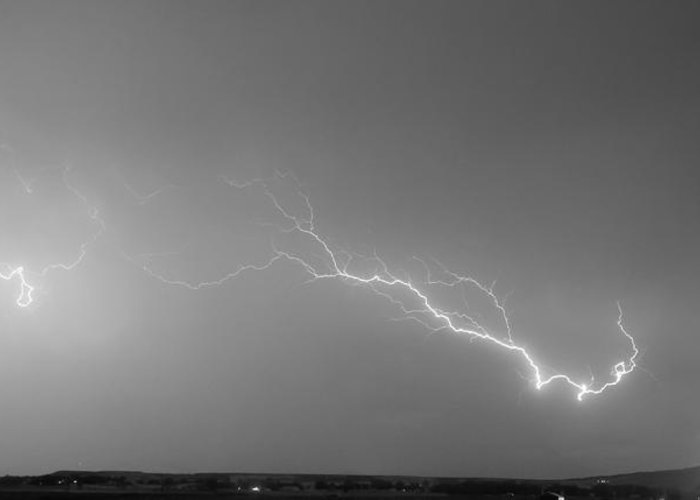 Lightning Greeting Card featuring the photograph Lightning Bolts Coming In For A Landing Panorama Bw by James BO Insogna