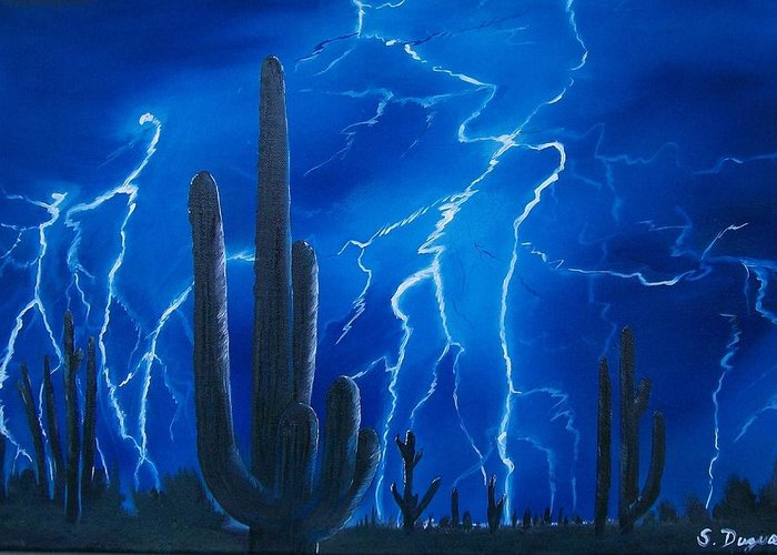 Desert Greeting Card featuring the painting Lightning Over The Sonoran by Sharon Duguay