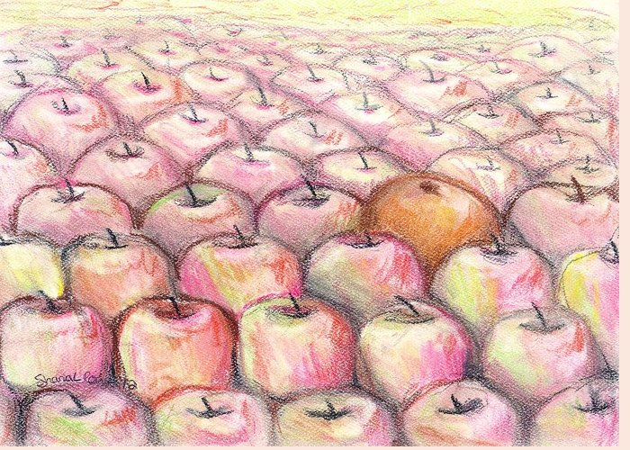 Fruit Greeting Card featuring the drawing Like Apples And Oranges by Shana Rowe Jackson