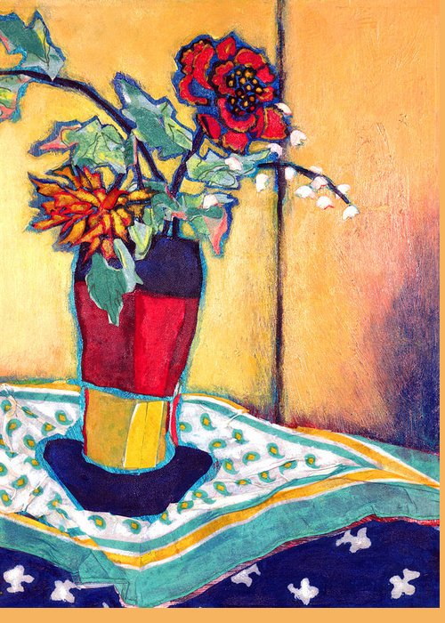 Flowers In A Vase Greeting Card featuring the mixed media Lilies Of The Valley by Diane Fine