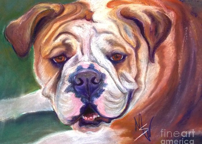 Bull Dog Greeting Card featuring the pastel Lilly by Mindy Sue Werth