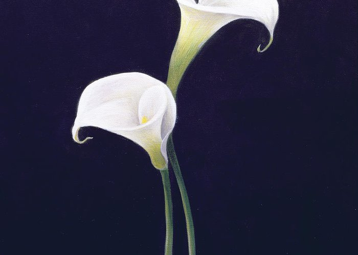 White; Lilies; Still Life; Flower Greeting Card featuring the painting Lily by Lincoln Seligman