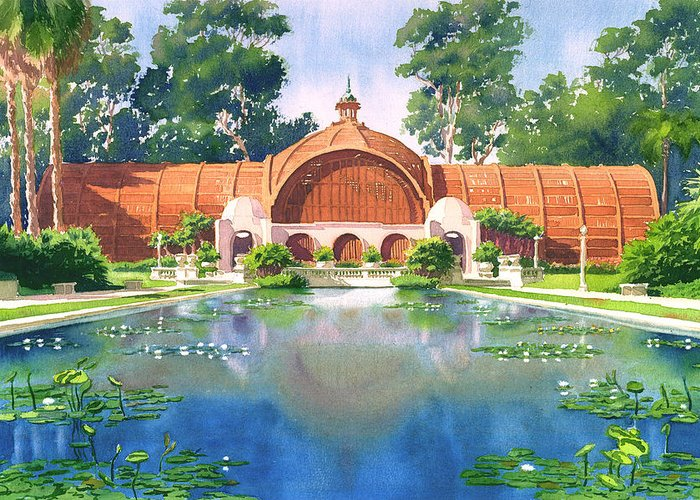 San Diego Greeting Card featuring the painting Lily Pond And Botanical Garden by Mary Helmreich