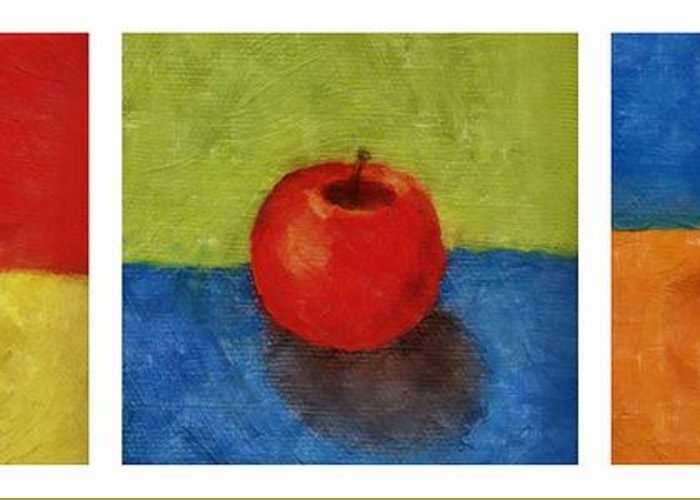 Lime Greeting Card featuring the painting Lime Apple Lemon by Michelle Calkins