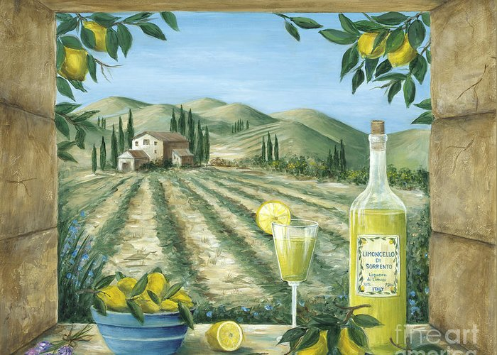 Tuscany Greeting Card featuring the painting Limoncello by Marilyn Dunlap