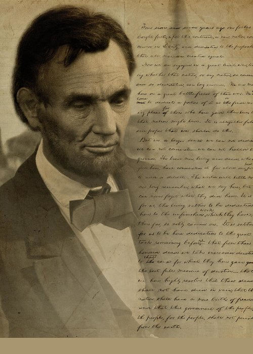 Gettysburg Greeting Card featuring the digital art Lincoln At Gettysburg by Ray Downing