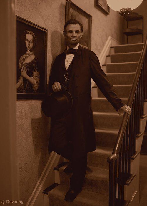 Abraham Lincoln Greeting Card featuring the digital art Lincoln Descending Staircase by Ray Downing