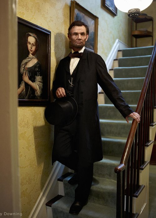 Abraham Lincoln Greeting Card featuring the digital art Lincoln Descending Stairs 2 by Ray Downing