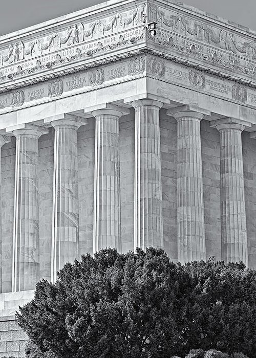 Abraham Lincoln Memorial Greeting Card featuring the photograph Lincoln Memorial Pillars Bw by Susan Candelario