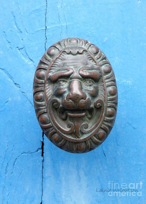 Lion Greeting Card featuring the photograph Lion Face Door Knob by Lainie Wrightson