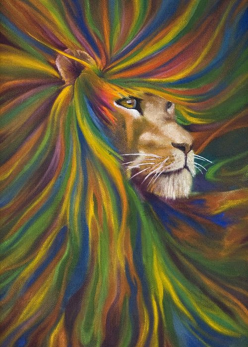 Lion Greeting Card featuring the painting Lion by Kd Neeley
