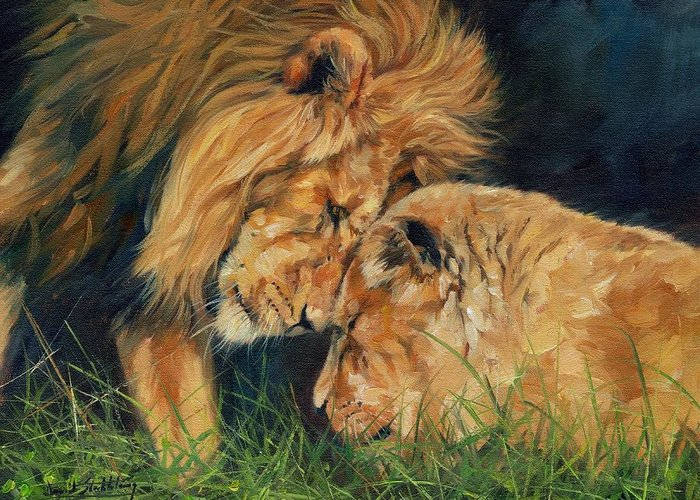 Lion Greeting Card featuring the painting Lion Love by David Stribbling
